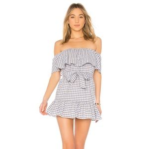 Tularosa Sallie Dress Blue Check size S Revolve